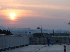 屋上から見る夕日